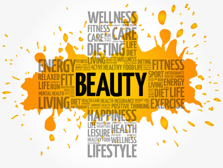 BEAUTY word cloud collage, health cross concept background