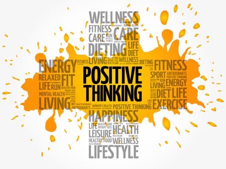 Positive thinking word cloud collage, health cross concept background