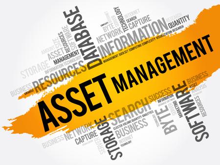 Collage de nube de word de gestión de activos, antecedentes del concepto de negocio