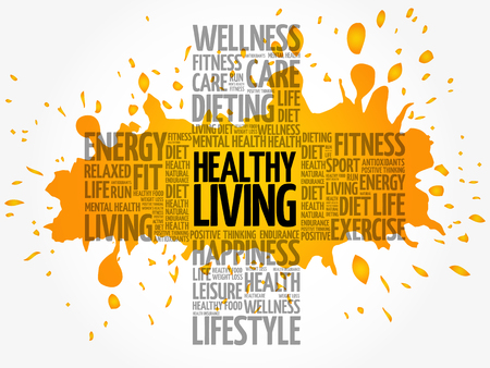 Healthy Living word cloud collage, health cross concept background Иллюстрация