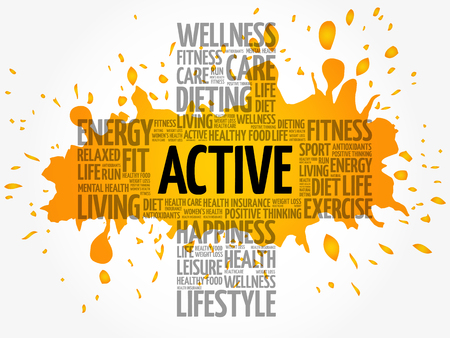 ACTIVE word cloud collage, health cross concept Illustration