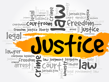 Justice word cloud collage, law concept background