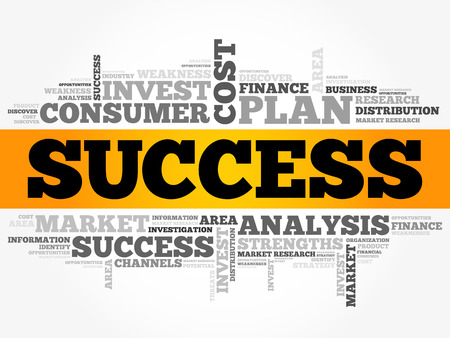 Success word cloud collage, business concept background