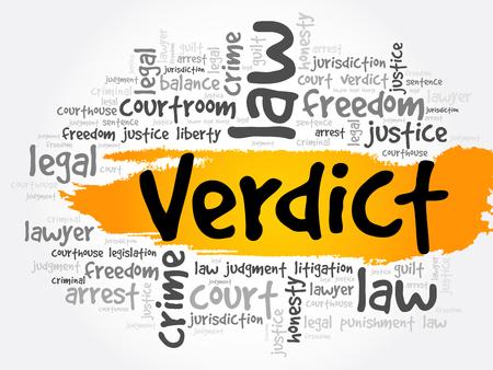 Verdict word cloud collage, concept background