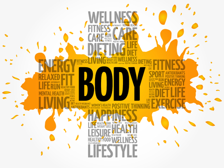 BODY word cloud collage, health cross concept