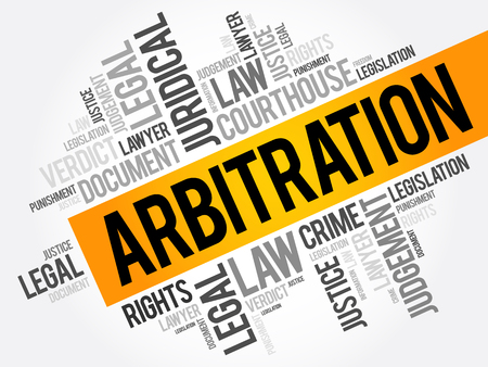Arbitration word cloud collage, law concept background