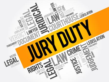Collage della nuvola di parola della giuria Duty, fondo di concetto di legge Vettoriali
