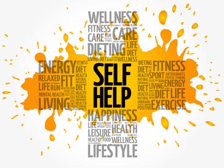 Self Help word cloud, health cross concept background