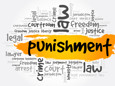 Punishment word cloud collage, law concept background