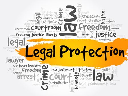 Legal Protection word cloud collage, business concept background