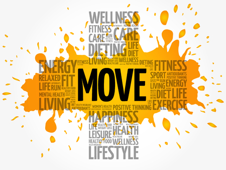 MOVE word cloud collage, health cross concept