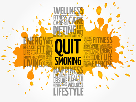 Quit Smoking word cloud, health cross concept background