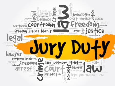 Collage de nuage de mot de devoir de jury, fond de concept de loi