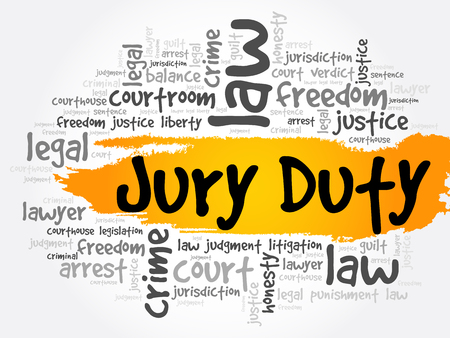 Jury Duty word cloud collage, law concept background