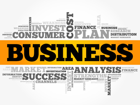 Business word cloud collage, concept background Illustration
