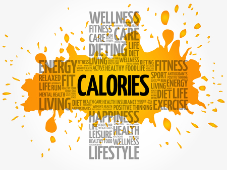 CALORIES word cloud collage, health cross concept background