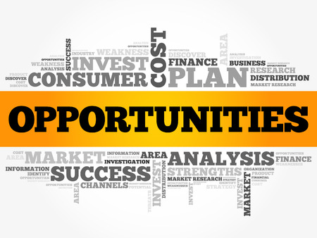 Opportunities word cloud collage, business concept background