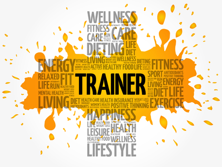 Trainer word cloud collage, health cross concept background
