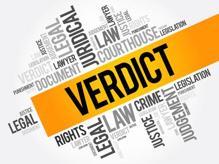Verdict word cloud collage, law concept background Illusztráció