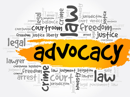 Advocacy word cloud collage, law concept background