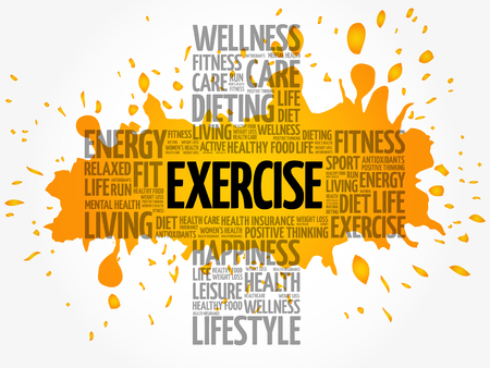 EXERCISE cross word cloud collage, health concept background Vectores
