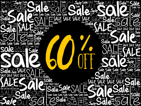 60% OFF Sale word cloud collage, business concept background