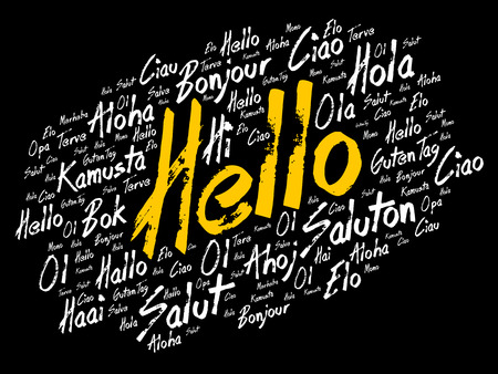 Hello word cloud collage in different languages of the world Illustration