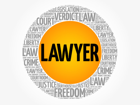 Lawyer word cloud collage, law concept background