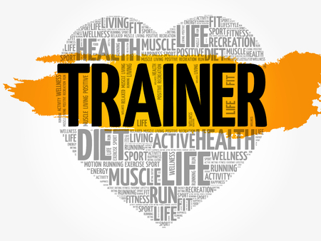 Trainer heart word cloud, fitness, sport, health concept  イラスト・ベクター素材