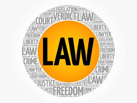 Law word cloud collage, concept background Çizim