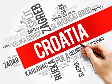 List of cities and towns in Croatia, word cloud collage, business and travel concept background Stock Photo