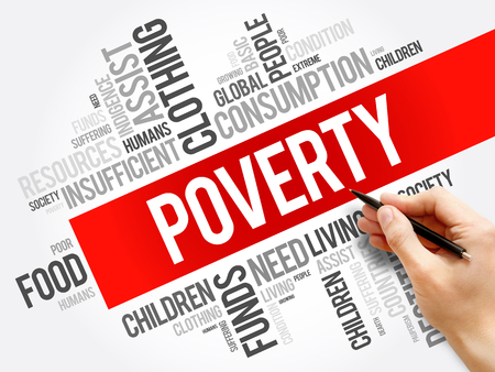 Poverty word cloud collage, social concept background Banque d'images