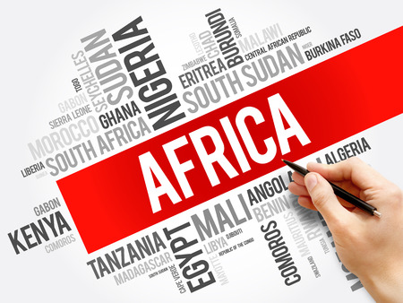 List of African countries word cloud collage, africa business and travel concept background Foto de archivo - 119404410