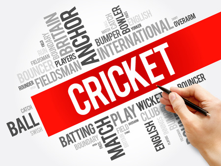 Cricket word cloud collage, sport concept background Фото со стока