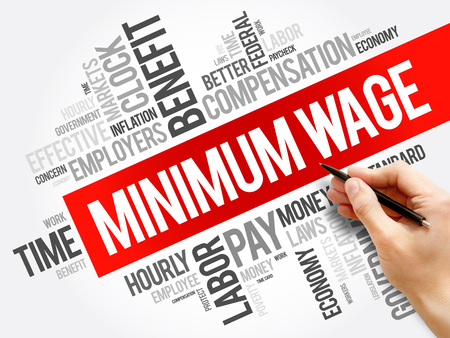 Minimum Wage word cloud collage, business concept background Banco de Imagens