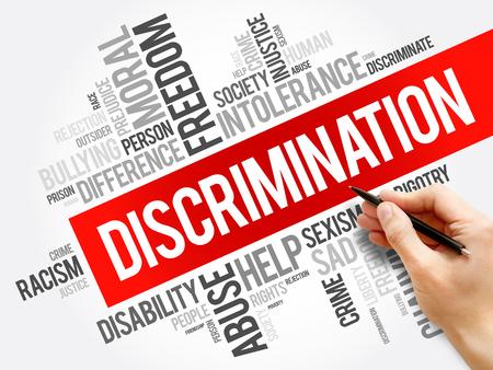Collage de nuage de mots de discrimination, fond de concept social Banque d'images