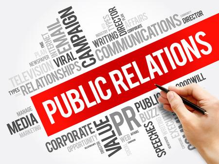Public Relations Wortwolkencollage, Geschäftskonzepthintergrund concept