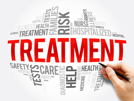 Treatment word cloud collage, health concept background Stock Photo