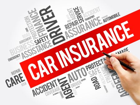 Car insurance word cloud collage, business concept background