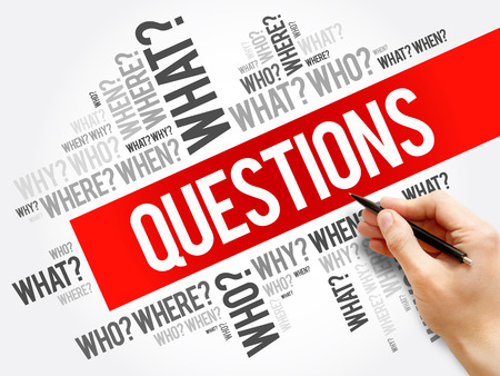 Questions whose answers are considered basic in information gathering or problem solving, word cloud background Stock Photo