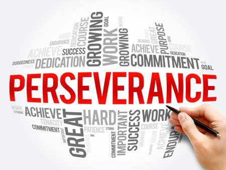 Perseverancia palabra nube collage, concepto de negocio de fondo Foto de archivo