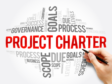 Collage de nuage de mot de la charte de projet, termes commerciaux tels que méthode, processus, fond de concept