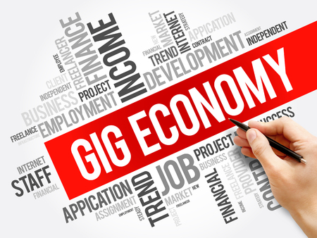 Gig Economy word cloud collage, business concept background Stock Photo