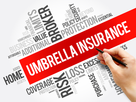 Umbrella Insurance word cloud collage, business concept background Banque d'images