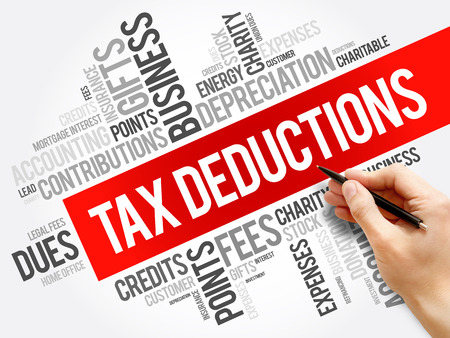 Tax Deductions word cloud collage, business concept background