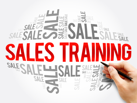 Sales Training word cloud collage, business concept background