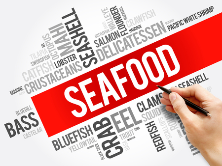 Seafood word cloud collage, food concept background 스톡 콘텐츠