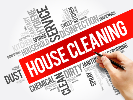 House Cleaning word cloud collage, concept background Foto de archivo