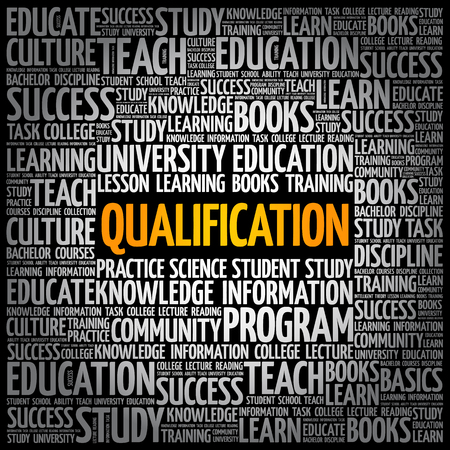 Qualification word cloud, education business concept