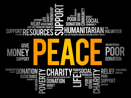 Peace word cloud collage, social concept background